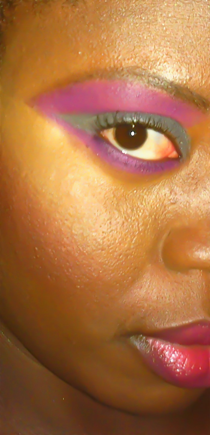 Silver and purple makeup