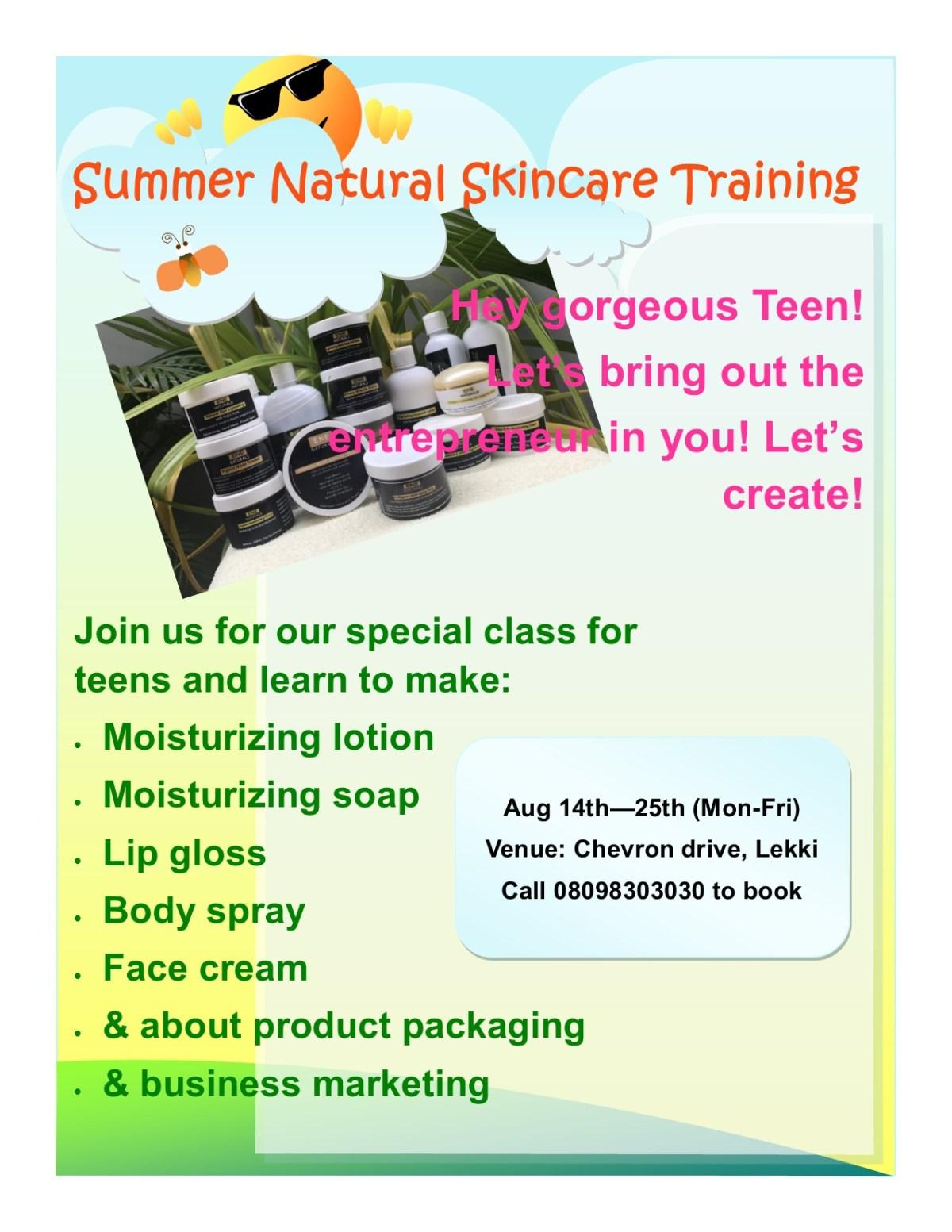 summer natural skincare training eflyer