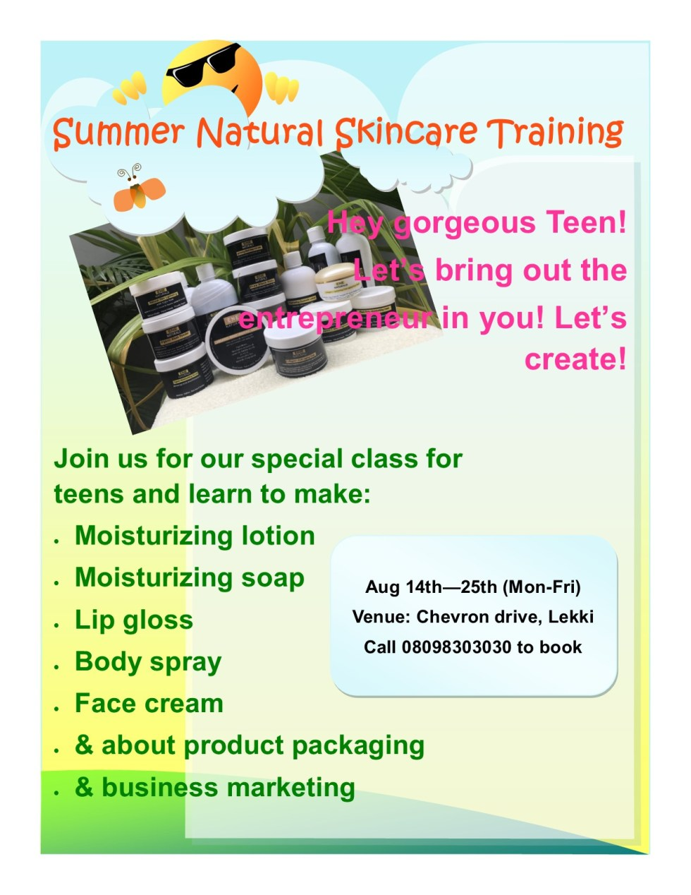 summer natural skincare training eflyer