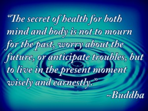 """""""The secret of health for both mind and body is not to mourn for the past, worry about the future, or anticipate troubles, but to live in the present moment wisely and earnestly."""" ~Buddha~"""