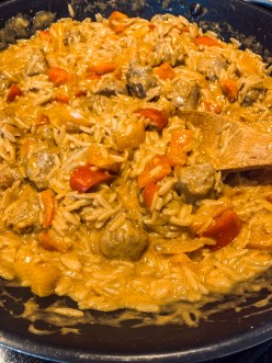 Cajun Orzo with Sausage and Peppers