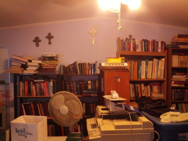 This is from my office door. The light interfered, but you can see the bookcases!