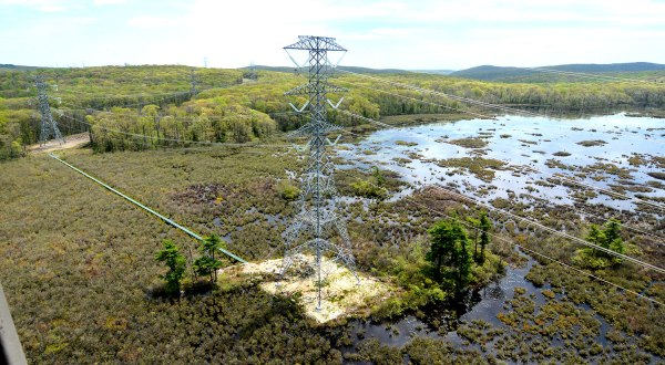 Constructed entirely using a helicopter, this structure is the tallest structure on the S-R Project, standing at 242' and located in the middle of Lake Denmark in Rockaway, NJ.