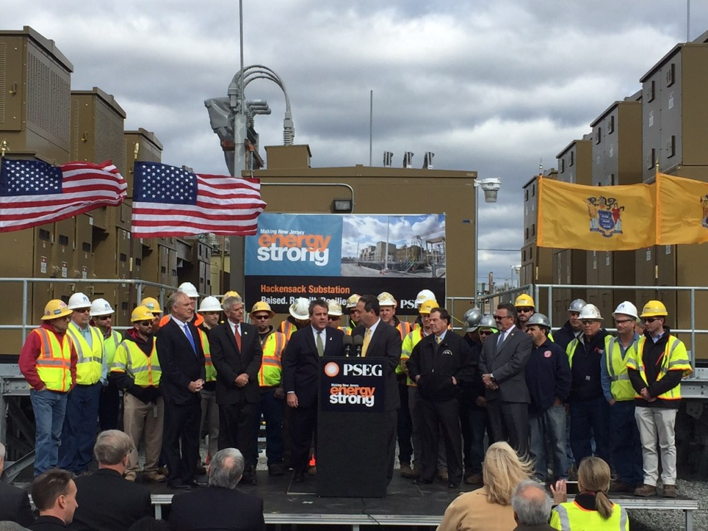 PSE&G President Ralph LaRossa is joined by Governor Chris Christie at a Hackensack substation to highlight the infrastructure investments made since Superstorm Sandy left millions of people without power in the state four years ago