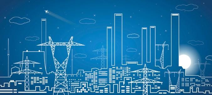 Vector lines power plant, power lines, industrial vector design, infrastructure