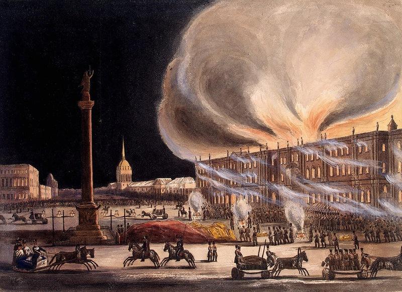 Картина пожара в Зимнем дворце