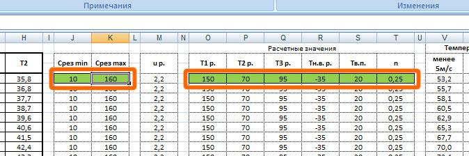 Ввод исходных данных в таблицу расчета температурного графика