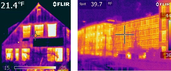 Heat-sensing camera images — where red and white 'heat' colors show higher heat loss — of a house wall with windows shows lower heat loss at the walls contrasted with high heat loss at the windows, and a university building wall with large windows shows high heat loss across the entire facade.