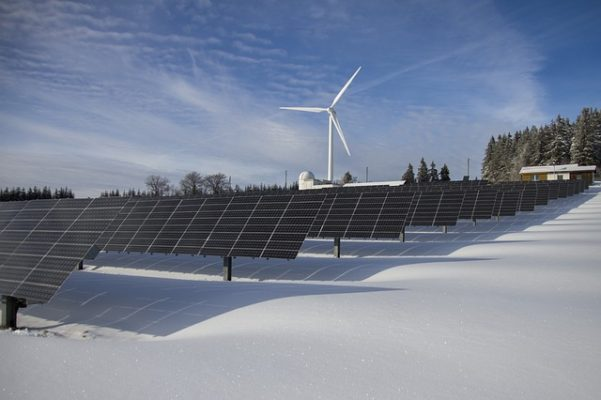 Solar and wind power generation site.