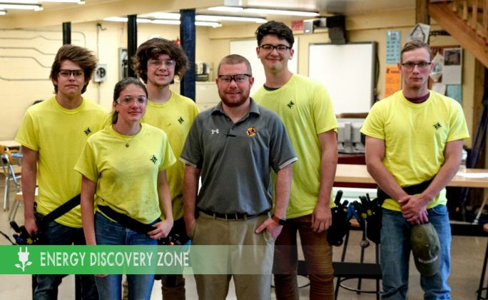 Mr. Michael Leddy, electrical studies instructor, and students at Parkway West Career Training Center