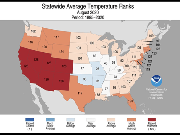 U.S. National Oceanic and Atmospheric Administration compiled data on statewide average temperature ranks.