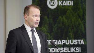 Kaidi Finland CEO Pekka Koponen spoke at Helsinki's Finlandia Hall on Feb. 10. Image: Antti Aimo-Koivisto / Lehtikuva