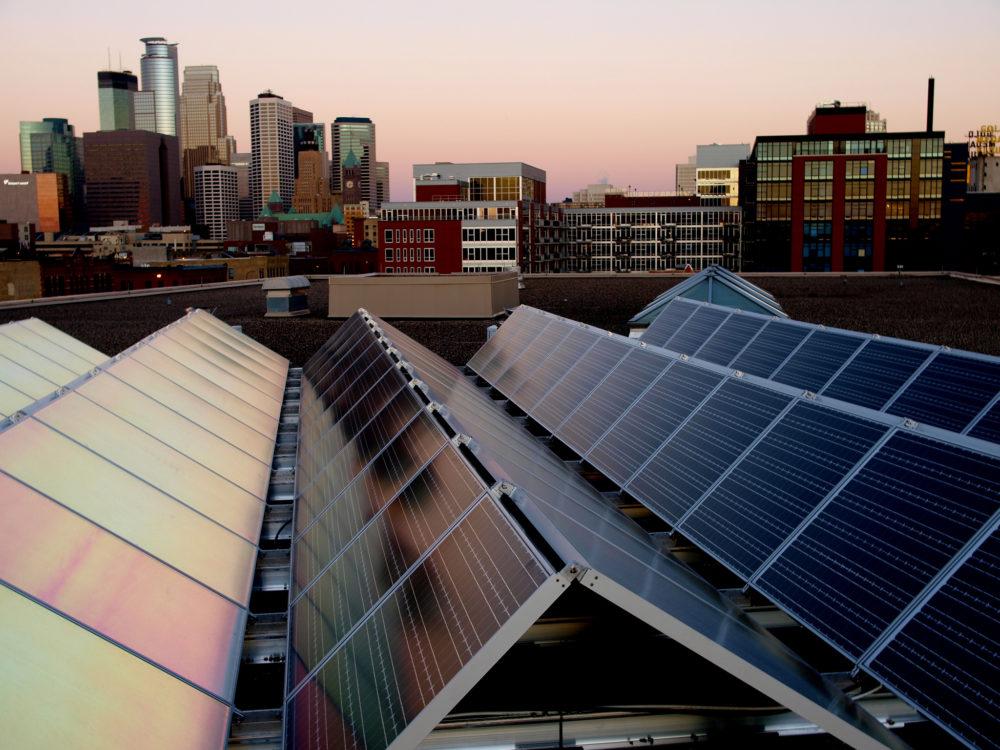 downtown Minneapolis solar panels