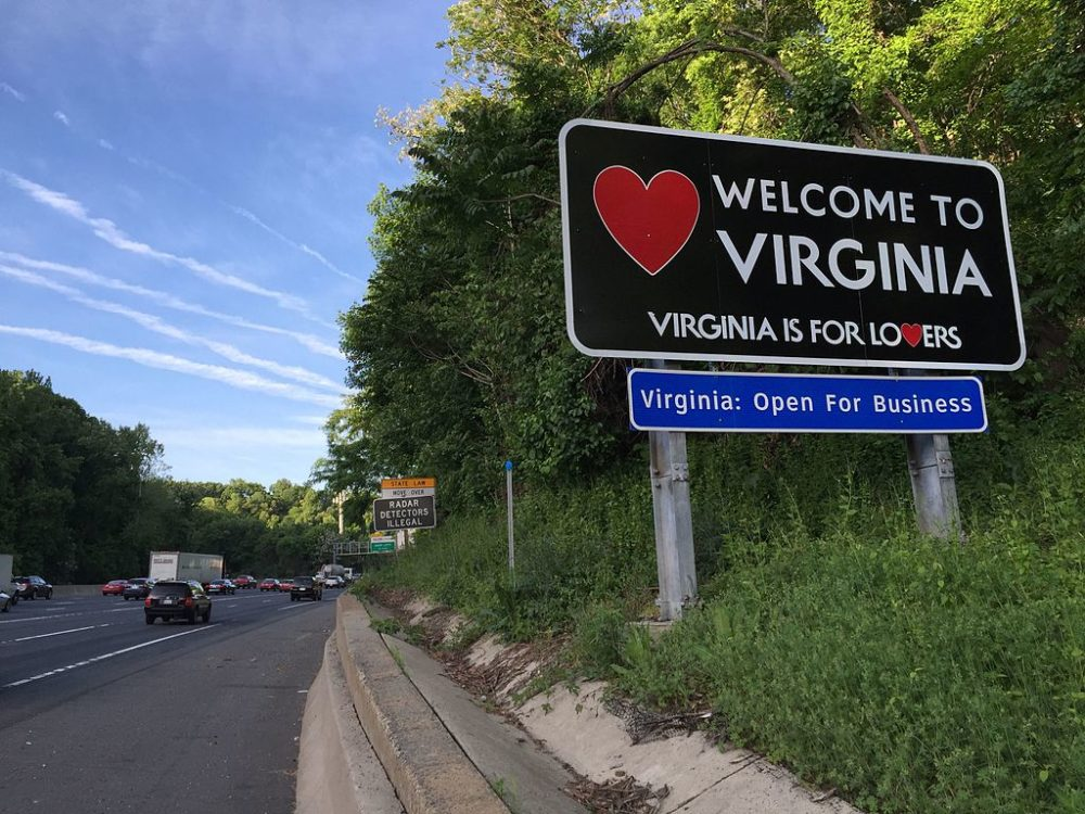 """Welcome to Virginia"" sign"