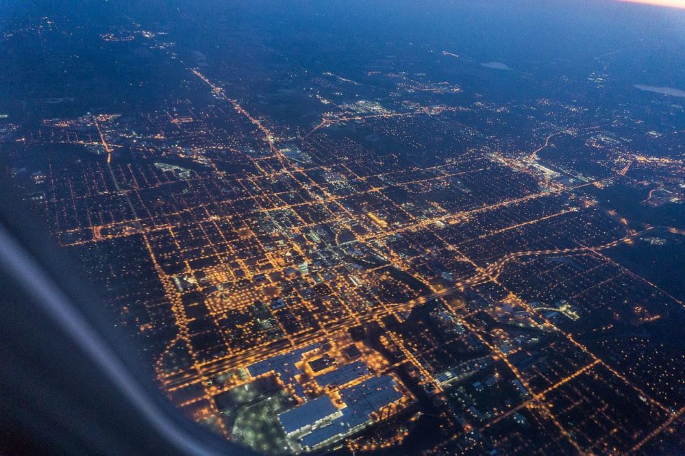 Lansing, Michigan, at night, from above