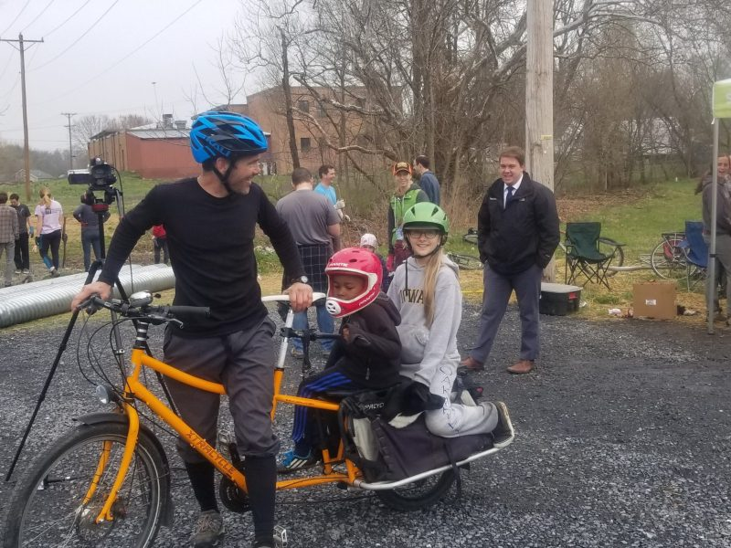 family on cargo bike