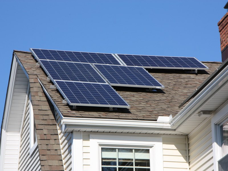 Solar panels on the roof of a home.