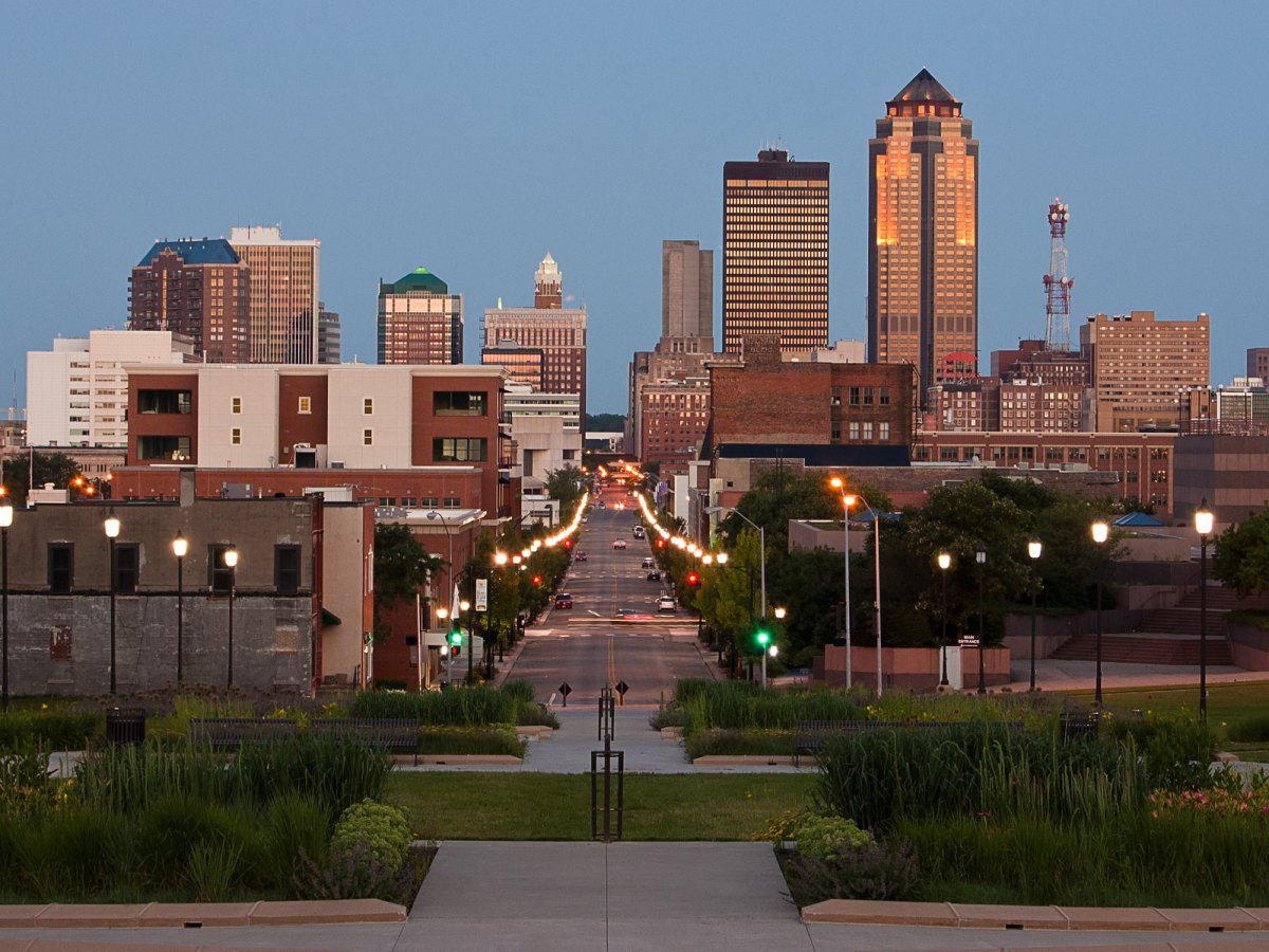 Downtown Des Moines, Iowa.