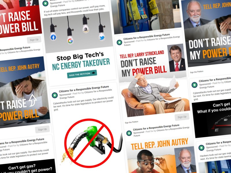 A collage of Facebook ads from Citizens for a Responsible Energy Future.