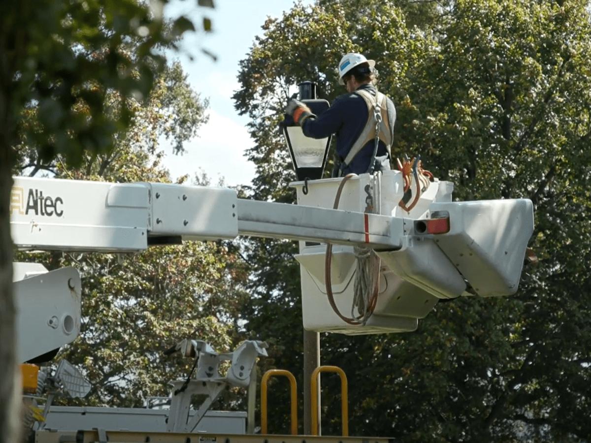 Dominion Energy crews work on lighting retrofits at Virginia Union University in Richmond.