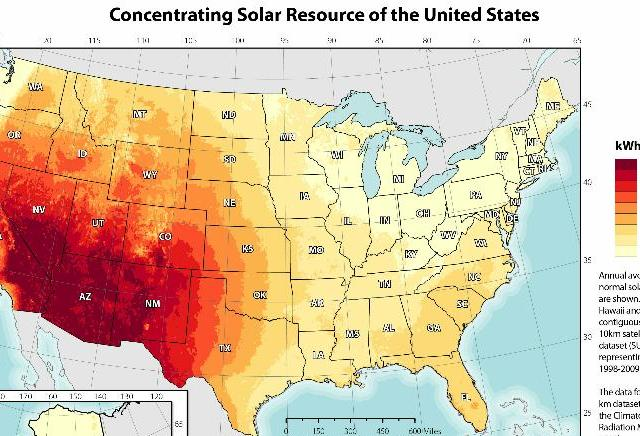 CSP NREL solar resource 2012