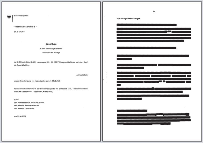 Censored document by Bundesnetzagentur