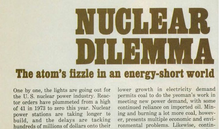 """An excerpt from BusinessWeek, 25 December 1978 with the title """"Nuclear Dilemma""""."""