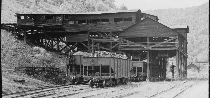 Black and white photo of coal mining tipple, from the PV&K Coal Company. Taken in 1946 in Harlan County, Kentucky.