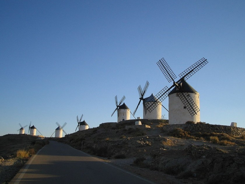 windmills along a roadway in Spain