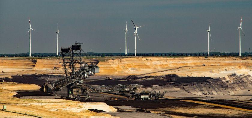 Lignite mines and wind turbines