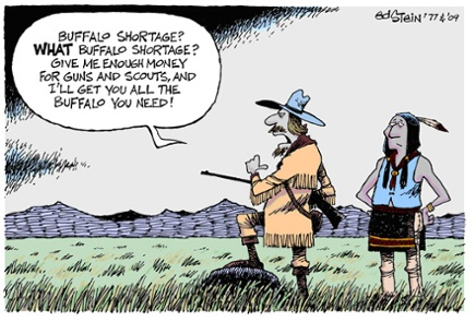 peak oil cartoon discoveries production buffalo shortage 600
