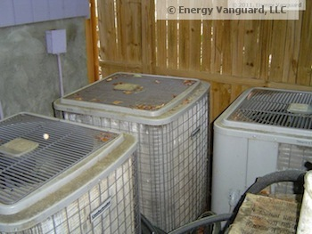 hvac air conditioner condensing unit too close bad airflow energy efficiency