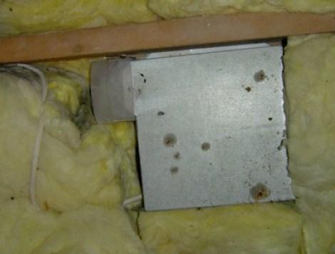 hvac exhaust fan no duct blowing into fiberglass attic insulation