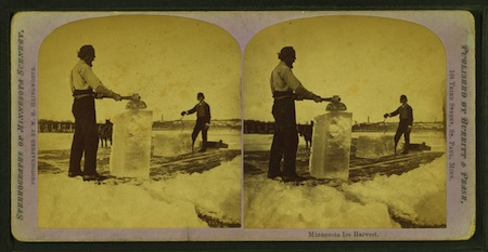 Minnesota ice harvest from Robert N Dennis collection of stereoscopic views small