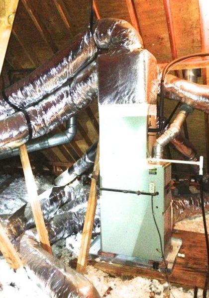 hvac air conditioner unconditioned attic vertical air handler supply duct endcap