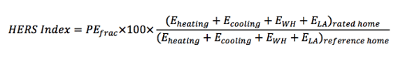 HERS Index equation simplified from standards reference home