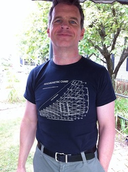 Henry Gifford, wearing his psycrhometric chart T-shirt, can prove to you that cold air is dry air.