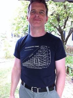 Henry Gifford wearing his psycrhometric chart T-shirt