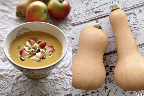 to bilder, suppe og flaskegresskar