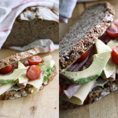 Ost- og skinkesandwich
