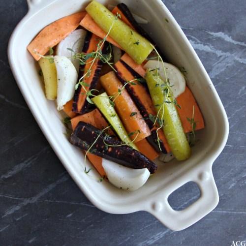 Ildfast form med rotgrønnsaker