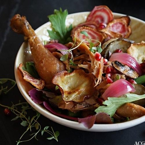 høstsalat med rotgrønnsaker og kylling