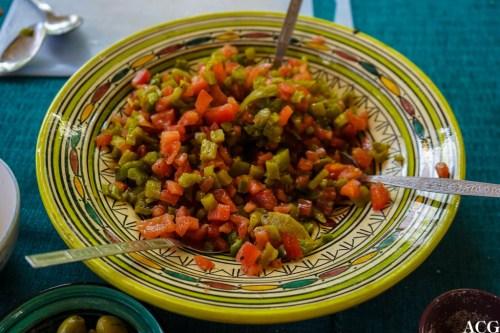 Marokkansk tomat- og grønn paprikasalat