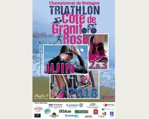 Une affiche pour le Triathlon  Côte de Granit Rose 2018