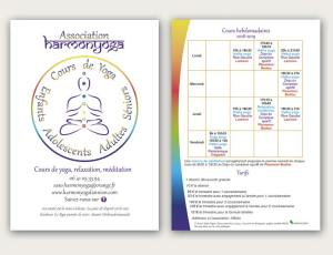 Un flyer pour l'association Harmonyoga