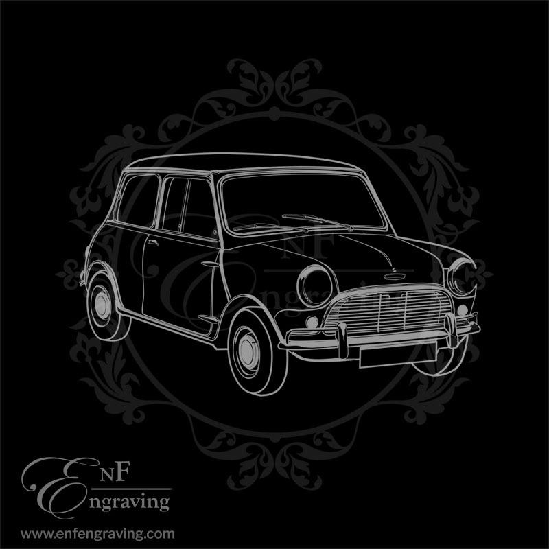 Vintage Mini Car Engraving Artwork