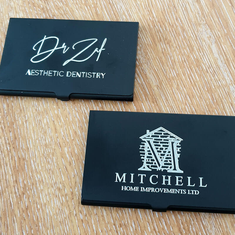 Two Card Holders With Client Logos Engraved