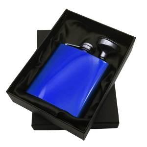 Blue Hip Flask in Satin Presentation Box