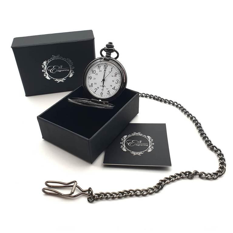 Black Gun Metal Pocket Watch with EnF Engraving Gift Box