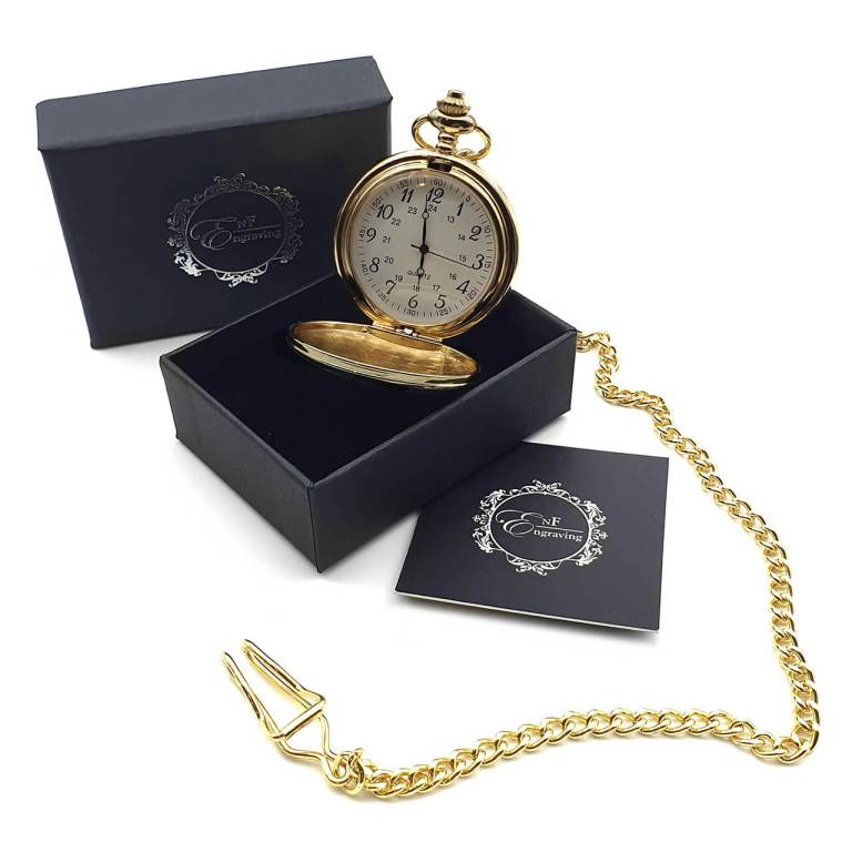 Gold Pocket Watch with EnF Engraving Gift Box